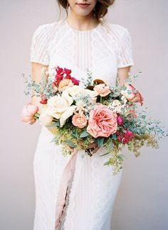 Arizona Desert Wedding Inspiration (Inspired By This) Pink And White Weddings, White Wedding Bouquets, Flower Bouquet Wedding, Floral Wedding, Bridal Bouquets, Pink Weddings, Bouquet Flowers, Floral Bouquets, Bridal Gown