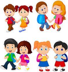 Cartoon school children with backpacks Royalty Free Vector , Cartoon Images, Cartoon Kids, School Cartoon, School Clipart, Children Images, Disney Tattoos, Happy Kids, Illustrators, Doodles
