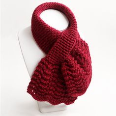 Womens Dark Red Keyhole Scarf. Small Burgundy Muffler. Handknit Neckwarmer. Ladies Scarflett. Wool Blend Knit Winter Ascot Neck Scarf by BarkingDogDesigns, $35.00 USD