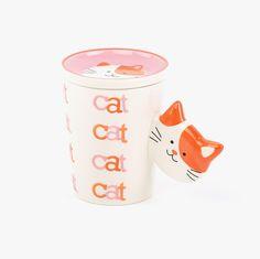 Caneca Cat & Spine Rosa com Tampa | referência 32062762 | A Loja do Gato Preto | #alojadogatopreto