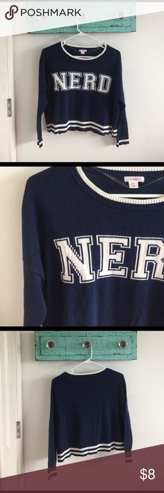 """nerd sweater Navy blue sweater with white stripes and the word """"nerd"""" across the front. Xhilaration Sweaters Crew & Scoop Necks"""