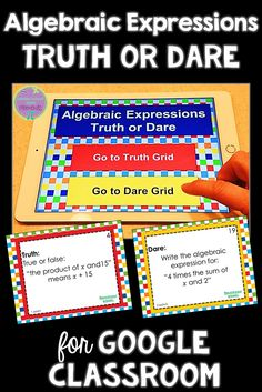 Are you looking for a fun math activity for your middle school students? Truth or Dare for Google Classroom is a fun way to review algebraic expressions! Math Tutor, Math Teacher, Math Classroom, Google Classroom, Teaching Math, Classroom Ideas, Future Classroom, Fun Math Activities, Math Games