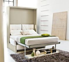 Decorate your room in a new style with murphy bed plans Murphy Bed Kits, Murphy Bed Desk, Murphy Bed Plans, Murphy-bett Ikea, Ikea Bed, One Room Flat, Fold Up Beds, Bed Unit, Modern Murphy Beds