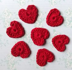 Crochet Red Heart Appliqué Embellishments by RainbowsnmoreCrafts on Etsy