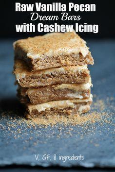Raw Vanilla Pecan Dream Bars with Cashew Icing