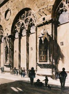 Paul Dmoch. Watercolour. // Ruelles de Florence (2003)