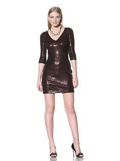 Jay Godfrey Women's Dominque Sequined V-Neck Dress (NUTMEG/BLACK)
