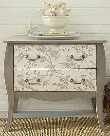 DIY - Wallpaper your furniture! There are so many amazing wallpapers out there.use them on your furniture.chests, backs of bookcases, on top of a table. Refurbished Furniture, Paint Furniture, Repurposed Furniture, Furniture Projects, Furniture Making, Furniture Makeover, Diy Projects, Antique Furniture, Dresser Furniture