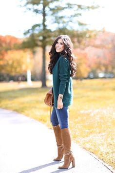 "OCTOBER 9, 2015 The Perfect Fall Sweater - SWEATER: Halogen (wearing the small   DENIM: AG   BOOTS: Gucci (similar HERE & HERE)   BAG: Valentino (love this tan bag, too!)   WATCH: Michael Kors   BRACELETS: David Yurman   RING: David Yurman   LIPS: 'Cherish' w/ 'Chelsea Girls"" on top"