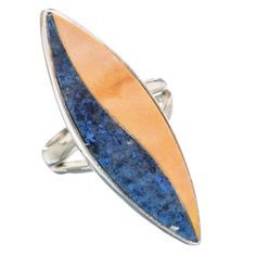 Large Rare Mookaite, Lapis Lazuli Composite 925 Sterling Silver Ring Size 6.75 RING758879