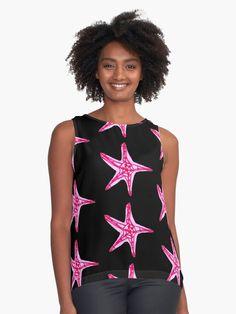 'Pink and Purple Starfish' Sleeveless Top by Niina Niskanen Nautical Shirt, Nautical Tops, Pink Art, Starfish, Wearable Art, Athletic Tank Tops, Shirt Designs, Chiffon, Black Art