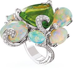 Marco Molinario, Monte Carlo ~ Australian opal and diamond ring in white gold. Amazing ring !