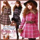 [ribbon flare fake wool coat   by a yellowtail tissue check belonging to British girl ♪ fur] P]It has been had ◆