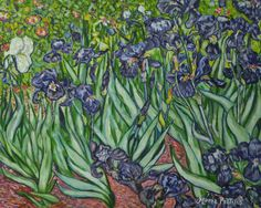 """IRISES"" by Vincent van Gogh, painted by Maria Panlilio (oil on canvas, 20x24, Ca. March 2016)"