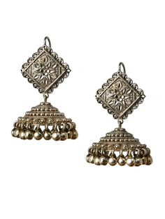 Large Engraved Silver Jhumka