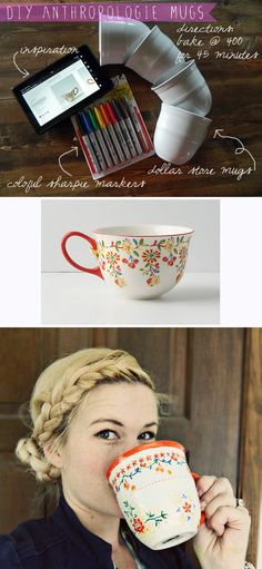 DIY anthropologie mugs Sharpie, 45 minutes at 400 degrees Diy Projects To Try, Crafts To Do, Craft Projects, Craft Ideas, Sharpie Projects, Diy Ideas, Crafty Craft, Crafting, Anthropologie Mugs
