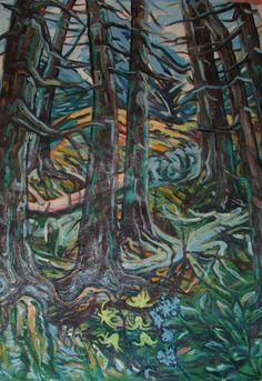 Mŕtvy les, olej na plátne 95 x 65 cm, Pavel Huszár, Banská Bystrica, Slovakia