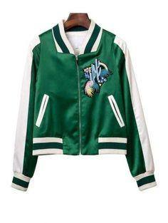 95f6838a26  AdoreWe  Zaful Zaful Stand Neck Long Sleeve Embroidered Green Baseball  Jacket - AdoreWe.