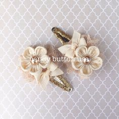 Champagne Ivory Hairclip Baby Hairclip Gold Snap by candybuttonusa