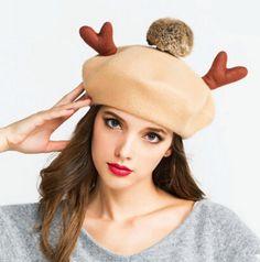 Elk Hairball beret hat for women cute Christmas gift