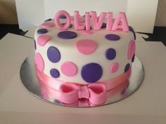 1st birthday cake. Pink and purple polka dot.  Cake is also polka dotted to match exterior.  asweetlife_byrachel@hotmail.com