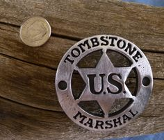 Tombstone U S Marshall Badge with pin back by COOLSTUFFGOODPRICES on Etsy Sheriff Badge, Police Badges, Law Enforcement Badges, Us Marshals, Old Barn Wood, India, Gifts For My Boyfriend, God Of War, Sweet Memories