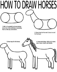 Printable sheet about how to draw a horse. Setting these on the table with crayons.