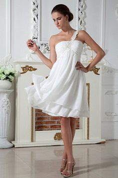 Buy lovely knee length chiffon appliqued white homecoming dress one shoulder from white homecoming dresses collection, one shoulder neckline empire in color,cheap knee length dress with zipper and for prom party homecoming graduation . Homecoming Dresses Knee Length, Grey Prom Dress, Junior Prom Dresses, Pink Prom Dresses, Cheap Evening Dresses, Prom Party Dresses, Formal Dress, 2015 Dresses, Prom Gowns