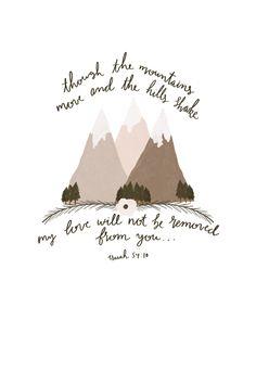 Isaiah 54:10 Illustration - Bible Verse Illustration - Bible Drawing - Mountains - Christian Art