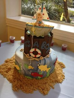 Celebrating the birth of a baby boy cake or ideal for the little fisherman in your family