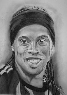 Ronaldinho getekend op A3 formaat met houtskool en grafiet door: Ro's Portraits & Art (Facebook)