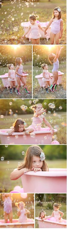 Little girls photoshoot with bubbles and a bath tub @Timothy Daniel with the tub in the garage?