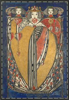 """""""Queen of Hearts, Spades, Diamonds and Clubs by Margaret Macdonald Mackintosh, one of the defining artists of the """"Glasgow Style"""" Arts And Crafts For Teens, Art And Craft Videos, Arts And Crafts Projects, Charles Rennie Mackintosh, Art Nouveau, Klimt, William Morris, Art Romantique, Arts And Crafts Interiors"""