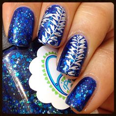 Glitter Blue & Silver Leaf Stamping Nails : http://thepolishedphd.blogspot.com/2015/02/extended-review-born-pretty-store.html