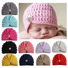 0e71d1d8d58 Aliexpress.com   Buy Newborn Baby Girls Boys Hat Knitted Crochet  Stretchable Caps with Crystal Bohemia Style Toddler Kids Warm Beanie Cap  Accessories from ...