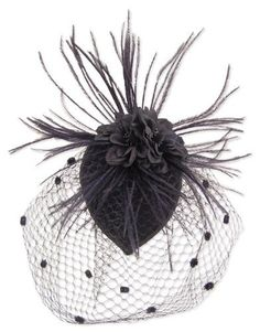 ecbaab1d30c52 Black Feather Fabric Flower Net Fascinator Hair Clip and Cocktail Hat. Black  fascinator features x fabric cap with fabric flower