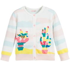 Girls long-sleeved soft knitted cottonBillieblush cardigan with ivory, pink and blue stripes. On the front there are bright interwoven cacti with shiny sequin embellishment and neon pink buttons down the front to fasten. Soft and comfortable, this fun design is perfect for providing young girls with an extra layer of warmth in the summer months.