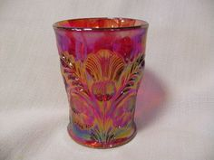 Red Carnival Inverted Thistle Pattern Tumbler