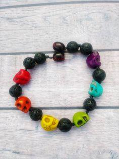 Ready to Ship Rainbow Skull Diffuser Bracelet 7 inch/ Howlite Skull/ Colorful/ Pride/ Handmade by AOOAKcreationsCo on Etsy