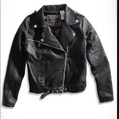 Guess Girls Pleather Moto Jacket Trendy, black, pleather, zip-up jacket with belt at waist Guess Jackets & Coats
