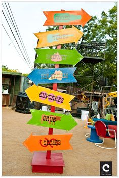 Fun signage for a festival or event. Using one colour to follow through the whole venue for each item