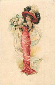 красивая девушка в большой шляпе и красными лицами платье осталось, выглядит фронт, большой букет белых роз состоится над левой руке
