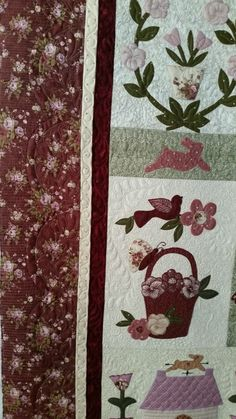 Le Jardin quilt made by SteveAnna. Pattern by Bunnyhill Designs.  Longarmed by Le Ann Weaver of Persimmon quilts.