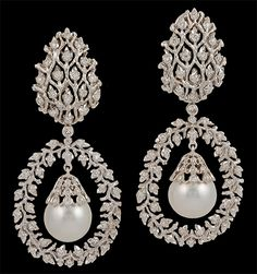 BUCCELLATI. 18k White Gold, Diamond Pearls Earrings. Circa 1980s