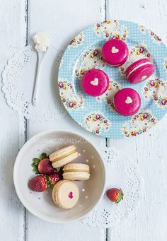 Heart-Inside Macarons (Strawberry Cheesecake and Vanilla Malt) by raspberri cupcakes, via Flickr