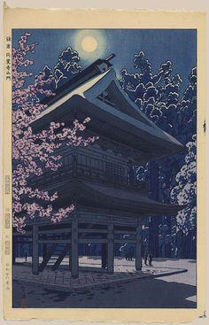 """Cherry Blossoms at Main Gate of Engakuji Temple, Kamakura"" by Kasamatsu, Shiro"