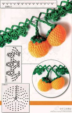 Barradinho com Frutas - Mega Lindos! Weaving Arts in Crochet: Three Barradinho with fruits - Mega Gorgeous!Weaving Arts in Crochet: Three Barradinho with fruits - Mega Gorgeous! Crochet Fruit, Crochet Diy, Crochet Leaves, Crochet Food, Irish Crochet, Crochet Flowers, Crochet Borders, Crochet Squares, Crochet Motif