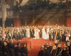Schilderij van kunstschilder Niolaas van der Waay 6 september 1898 inhuldiging koningin Wilhelmina in de Nieuwe Kerk in Amsterdam