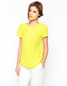 Yellow crepe top