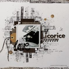 #papercraft #scrapbook #layout. Love of licorice by Riikka Kovasin made with stamps by Birgit Koopsen